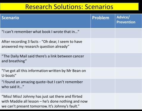 Research Scenarios